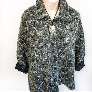 Alfred Dunner Wool Blend Sweater Jacket Sz 16